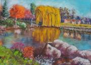 tableau paysages brie comte robert lac f mitterrand peinture pastel paysage : Automne sur le Lac Mitterrand de Brie Comte Robert