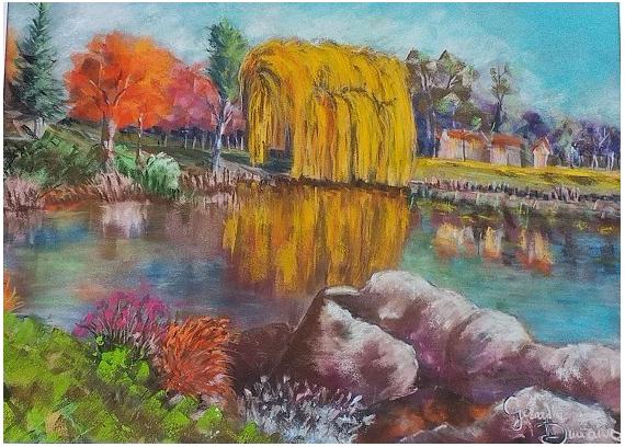 TABLEAU PEINTURE Brie Comte Robert Lac F. Mitterrand Peinture pastel Paysage Paysages Pastel  - Automne sur le Lac Mitterrand de Brie Comte Robert