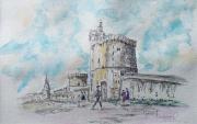 tableau architecture porte de la rochelle peinture aquarelle : Panoramique sur la Rochelle