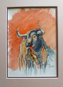 tableau animaux taureaumachie peinture : Taureau de feu