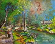 tableau paysages gouache riviere orge villiers sur orge 91 : au bord de l'orge à  Villiers sur orge
