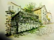 tableau architecture lavoir athis mons 91 peinture en encre patrimoine : Le lavoir d'Athis Mons 91