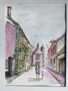 tableau paysages marcoussis peinture aquarelle patrimoine : Rue de l'église Marcoussis 91