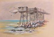 tableau marine carrelet peinture meschers : Joli carrelet