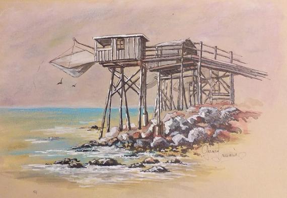 TABLEAU PEINTURE Carrelet peinture Meschers Marine  - Joli carrelet
