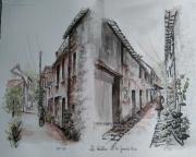 tableau villes ruelle ville du bois peinture encre architecture : Ruelles de la grande rue de la ville du bois91