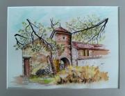 tableau paysages marolles en hurepoix tour patrimoine aquarelle : Tour de Marolles 91