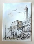 tableau marine st georges de didonn peinture bord de mer encre lavis carrelet : Carrelet et phare de St Georges de Didonne