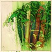 tableau fleurs fuite vitesse bois vert : TRANCHE DE FUITE