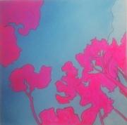 tableau paysages bleu rose arbre irradiation : rose