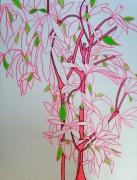 tableau paysages rose exotique vert trait : Rose