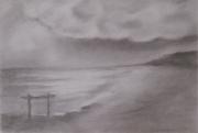 dessin paysages oostende dessin crayon ciel mer briselames potenc : AMT VANKERK ETUDE OOSTENDE les potences