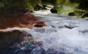 tableau paysages cascade riviere magie realisme : Ruisseau argenté