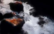 tableau paysages cascade riviere magie realisme : Lumière dans l'obscurité