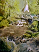 tableau paysages cascade foret magie realisme : Chartreuse green