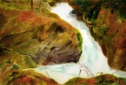 tableau paysages cascade riviere magie realisme : Zen Garden