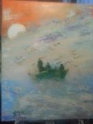 tableau paysages mer barque vent pecheurs : sortie en mer