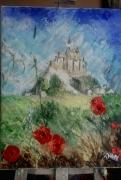 tableau paysages st michel coquelicots : le mont saint michal