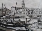 tableau paysages quartier pont tournant bord de mer jonquieres : martigues