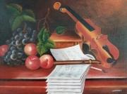 tableau nature morte violon raisin partition : nature morte au violon