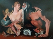 tableau personnages coquillages cherubin venus : mythologie grec