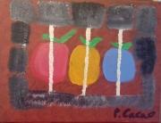 tableau fruits abstrai huile : la prison de pommes