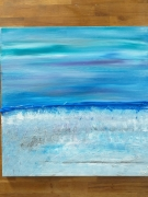 tableau paysage mer matin bl : Aqua blue