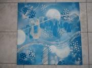tableau abstrait bleu azur turquoise : lumious