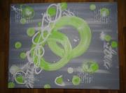 tableau abstrait vert anis gris blanc moderne doux : collection célèste