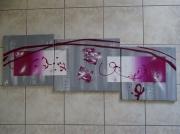tableau abstrait gris blanc rose salon moderne abstra : douceur