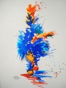 tableau animaux chat aquarelle encre coloree feerie : Osiris