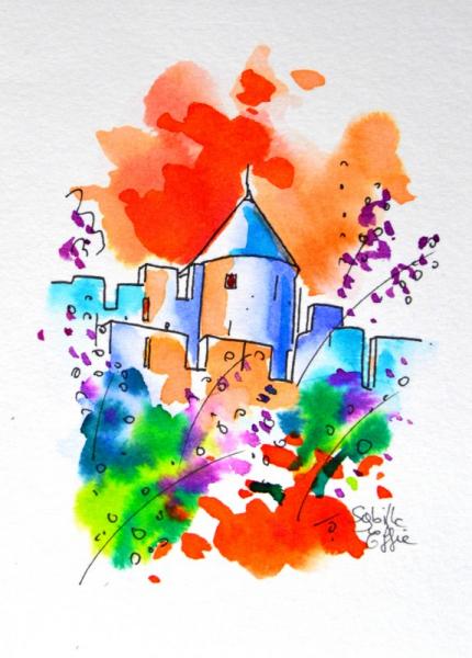TABLEAU PEINTURE Château encre colorée art cité de Carcassonne Architecture Encre de Chine  - Cité de Carcassonne