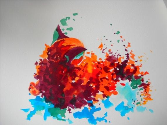 TABLEAU PEINTURE chat illustration aquarelle Animaux Aquarelle  - Chat Citrouille