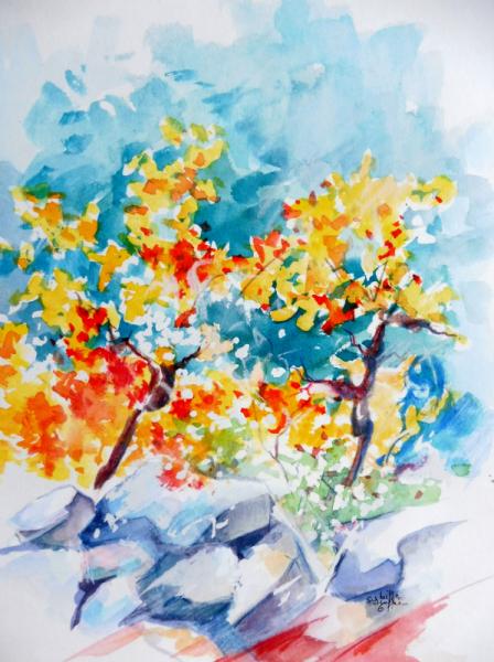 TABLEAU PEINTURE aquarelle paysage vignoble personnage Paysages Aquarelle  - Apparition dans une vigne