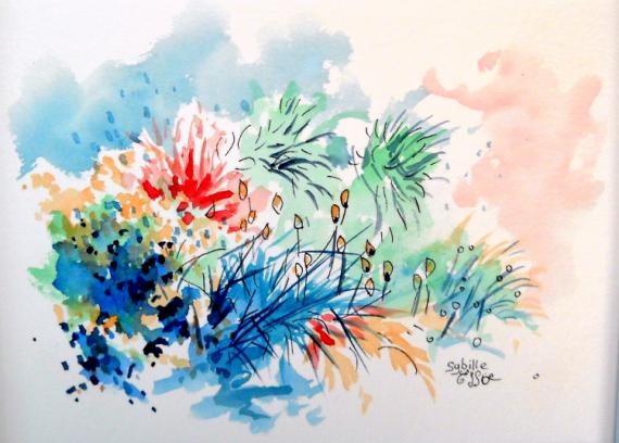 TABLEAU PEINTURE jardin aquarelle paysage art Paysages Aquarelle  - Petit coin de jardin
