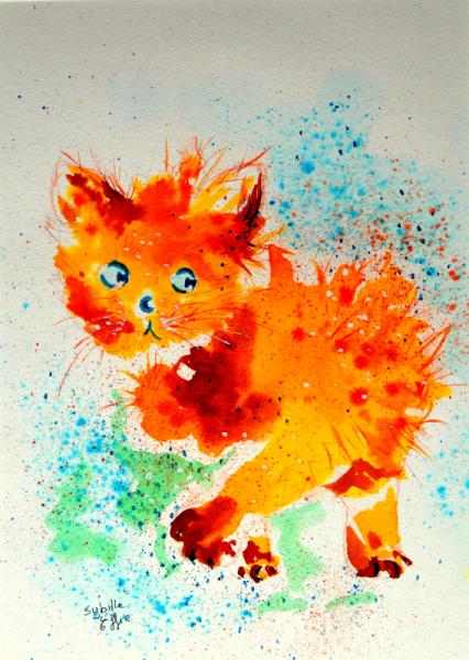TABLEAU PEINTURE chat encre colorée humour illustration Animaux Aquarelle  - Pustule