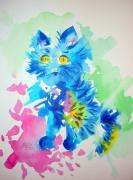 tableau animaux chat encre colore aquarelle : Matou