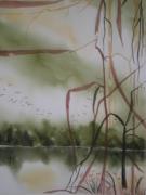 tableau marine paysage marin lys rive impressionnisme : RIVAGE