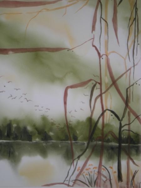 TABLEAU PEINTURE paysage marin lys rive impressionnisme Marine Aquarelle  - RIVAGE