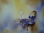 tableau personnages personnages scenes de vie impressionnisme interieurs : SOLITUDE...