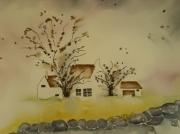 tableau architecture site de vie maison de campagne paysage romantisme : CARTE POSTALE