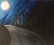 tableau animaux loup nuit foret chemin : le loup et la lune