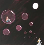 tableau scene de genre bulle nuit lune solitude : dans ma bulle