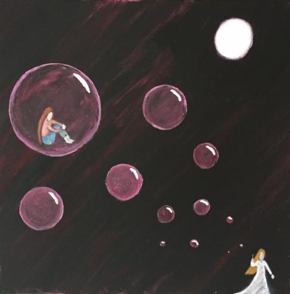 TABLEAU PEINTURE bulle nuit lune solitude Scène de genre Acrylique  - dans ma bulle