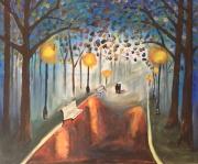 tableau scene de genre promenade foret nuit : promenade nocturne