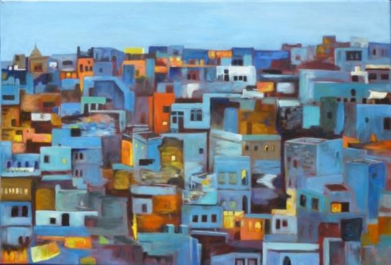 TABLEAU PEINTURE ville bleue Maroc Architecture Peinture a l'huile  - La Ville Bleue