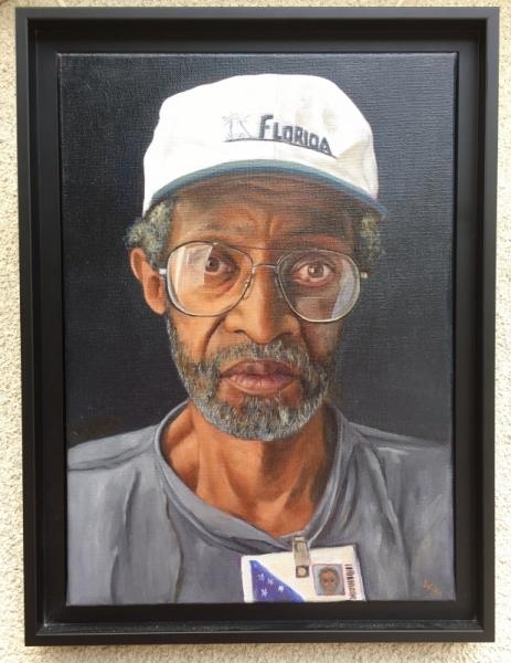 TABLEAU PEINTURE homme noir lunette casquette Personnages Peinture a l'huile  - L'Américain