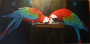 tableau animaux perroquets bresil oiseaux colores : Les Perroquets d'Iguazu