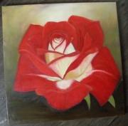 tableau fleurs rose fleur rouge couleurs chaudes : rose feu