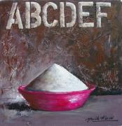 tableau nature morte ecriture gris rose contemporain : ABCD